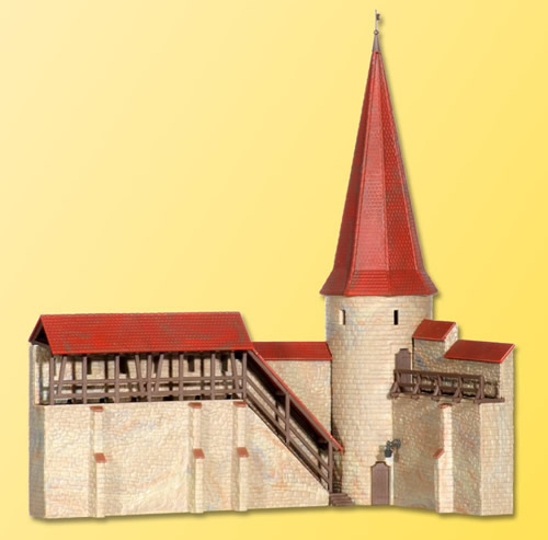 Kibri 38915 - H0 Town wall with round tower in Weil