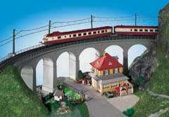 Kibri 39726 - H0 Rosanna-viaduct with ice breaking pillarscurved, single track