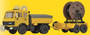 H0 MB post-truck with steerable axle and LED-lighting, functional kit