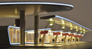 H0 Modern bus terminal, complete setincl. LED lighting