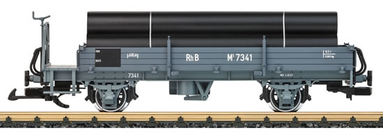 LGB 40092 - RhB Low Side Car with a Brakemans Platform and a Freight Load of Pipe