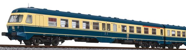 Liliput 133150 - German 3pc Diesel RailCar Set DMU BR 614 of the DB - Sea blue / Beige