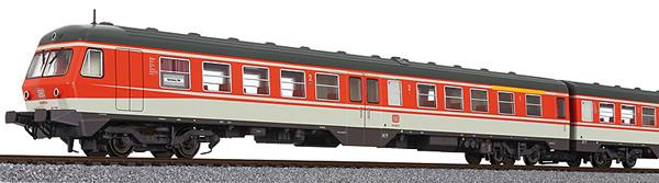 Liliput 133151 - German 3pc RailCar Set DMU BR 614 of the DB - Orange & Grey Ep.IV