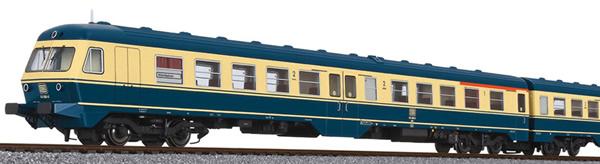 Liliput 133155 - German 3pc RailCar Set DMU BR 614 of the DB - Sea blue / Beige