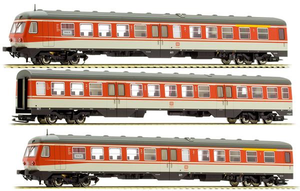 Liliput 133156 - German 3pc RailCar Set DMU BR 614 of the DB - Orange & Grey