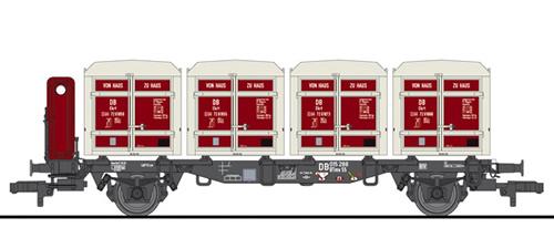 Liliput 235140 - Flat Wagon BT55 with Four ContainersEkrt 231 DB Ep.III