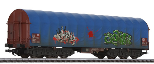Liliput 235779 - Steel Transport Wagon Blue Tarpaulin DB Ep.V Weathered