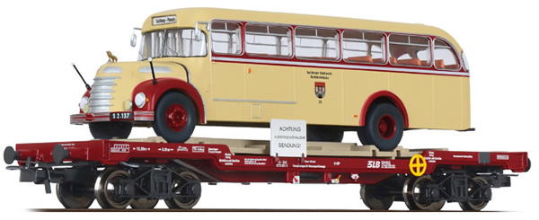 Liliput 235785 - Flat Wagon with Bus Salzburger Stadtwerke