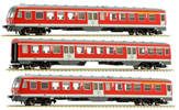German 3pc RailCar Set DMU BR 614 of the DB AG - Red