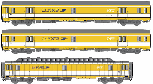LS Models 40424 - 3pc postal carriage set SNCF