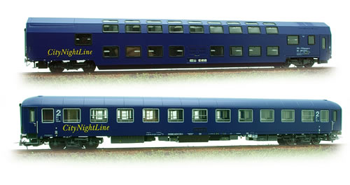 "LS Models 49003 - 2pc Passenger Coach Set ""City Night Line"" WLBm + Bvcmz"