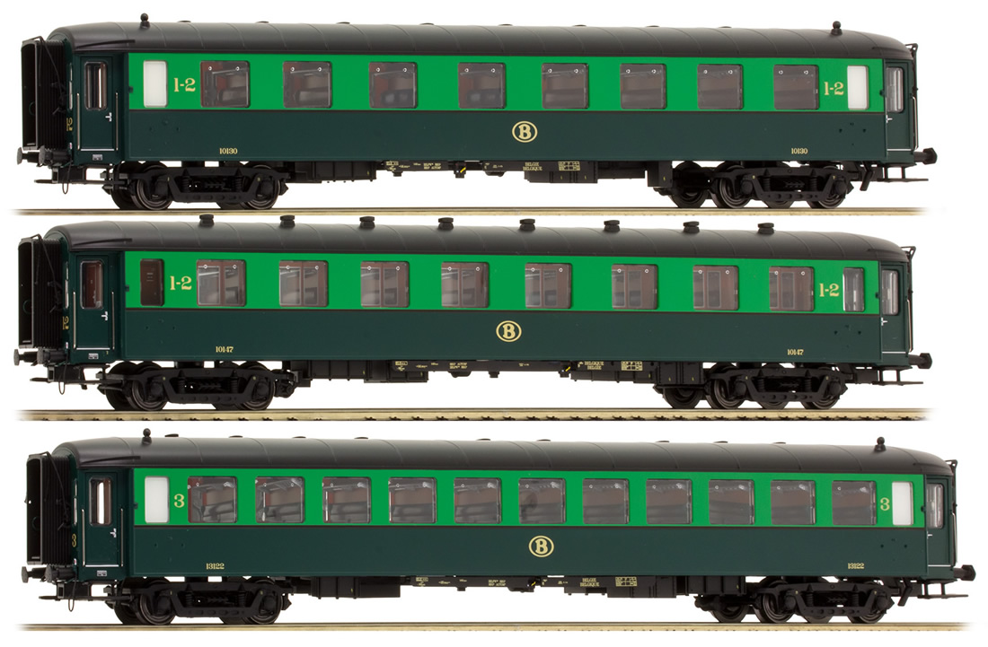 lsmodels LS Models 42107 - 3pc Passenger Coach Set I2 AB + I2 AB + I2 C of the SNCB
