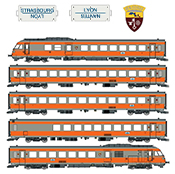 French 5-Car RTG Rail Car of the SNCF (Coat Of Arms Venissieux) SOUND