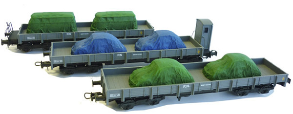 Mabar M-81403 - 3pc Flat Car Set with load