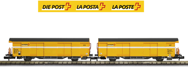 Mabar M-86504 - 2pc SBB Post Wagon Set yellow- no letterings