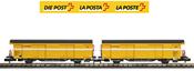 2pc SBB Post Wagon Set yellow- no letterings