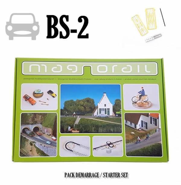 Magnorail BS-2 - Complete Set Magnorail + 8 vehicle sliders HO, TT, N, Z BS-2