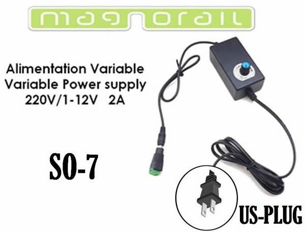 Magnorail SO-7 - Variable power supply 110-220V/ 1-12V DC 2A with US plug SO-7