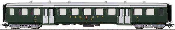 Marklin 43372 - SBB Lightweight Steel Passenger Car, 3rd Class, Era III