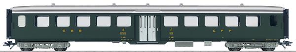 Marklin 43382 - SBB Lightweight Steel Passenger Car, 3rd Class, Era III