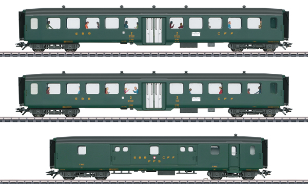 Marklin 43385 - 3pc Express Passenger Train Set 2 D96 Isar-Rhone - INSIDER MODEL