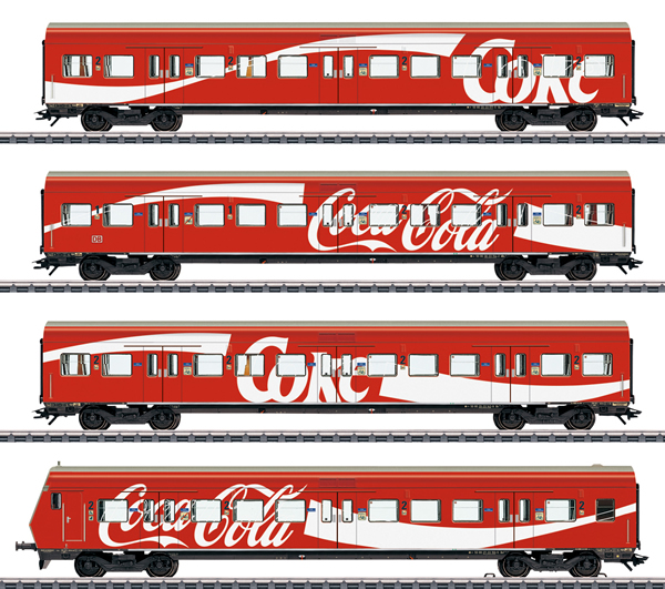 Marklin 43890 - DB AG S-Bahn Passenger 4-Car Set with Coca Cola® Advertising, Era V