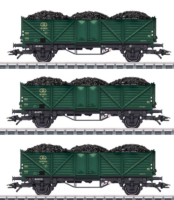 Marklin 46029 - 3pc SNCB High Side Gondola Set w. Coal Loads