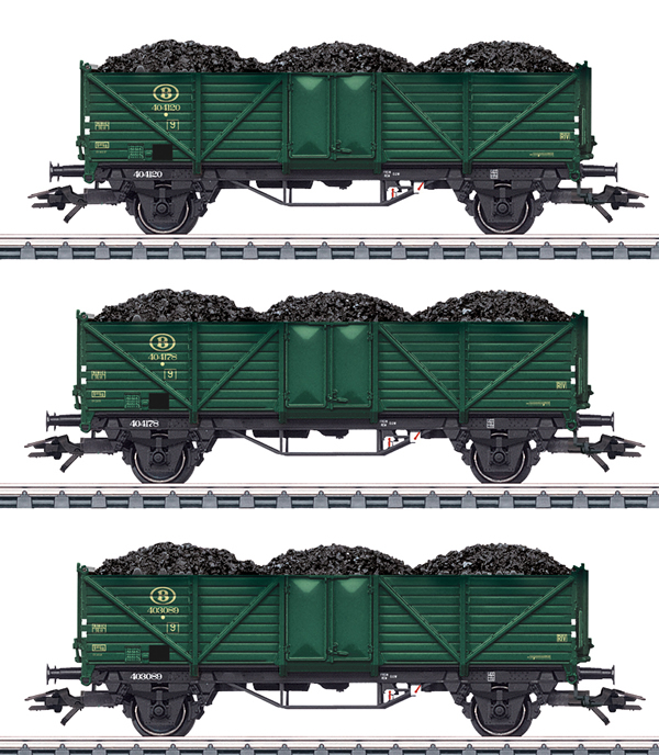 Marklin 46029 - 3pc SNCB High Side Gondola Set w. Coal Loads