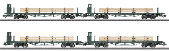 Marklin 46287 - German DRG Flat Car Set with Lumber Loads
