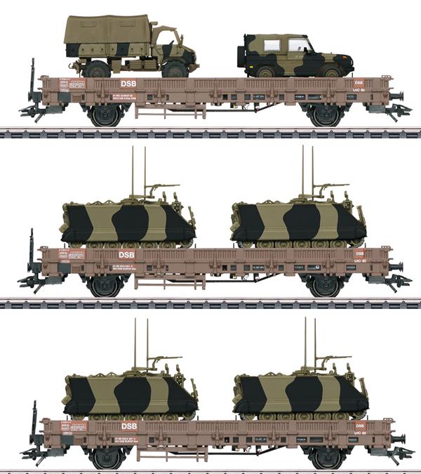 Marklin 46934 - DSB Military Transport Low Side 3-Car Set, Era IV