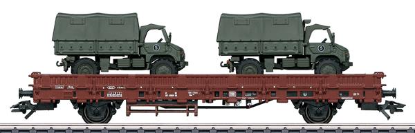 Marklin 46936 - DB Type Kbs 443 Stake Car with 2 Unimogs, Era IV