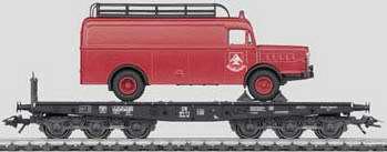 Marklin 48755 - DB Flat Car with Heavy Truck Load