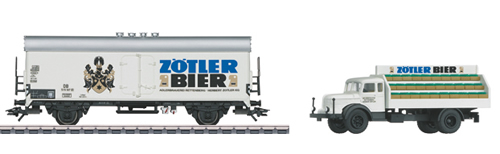 Marklin 48775 - German Zötler Beer Refrigerator Car with Delivery Truck of the DB