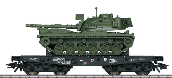 Marklin 48796 - DB Type Rlmmps Heavy-Duty Flat Car with M48 Tank, Era IV