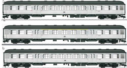 Marklin 58343 - German Passenger Car Set (3-pieces) Silberling of the DB