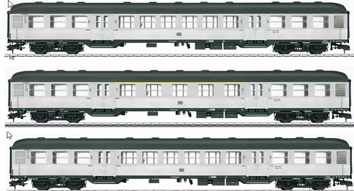 Marklin 58343 - German Passenger Car Set (3-pieces) Silberling of the DB