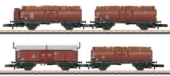 Marklin 86238 - 4pc Wood Load Freight Car Set