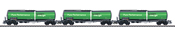 3pc Petroleum Oil GREEN CARGO Tank Car Set