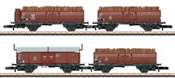 4pc Wood Load Freight Car Set