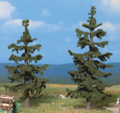 Noch 21820 - Nordic Fir Trees, 2 pcs., 11 cm and 12,5 cm