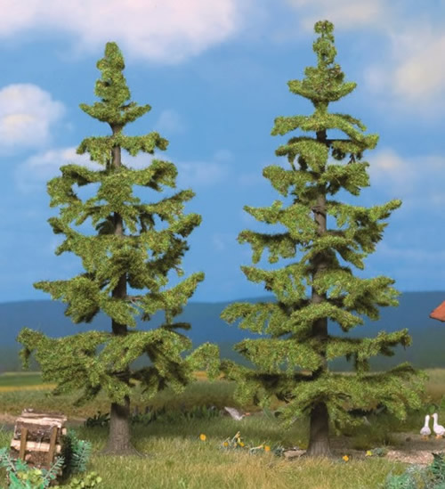 Noch 21831 - Spruce Trees, 2 pcs., 13 cm and 14,5 cm
