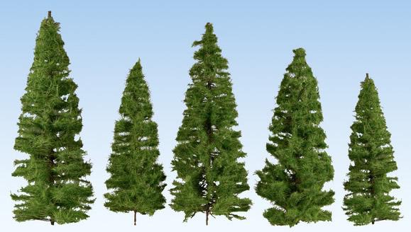 Noch 24520 - Fir Trees, dark green, 5 pieces, 14 – 20 cm high
