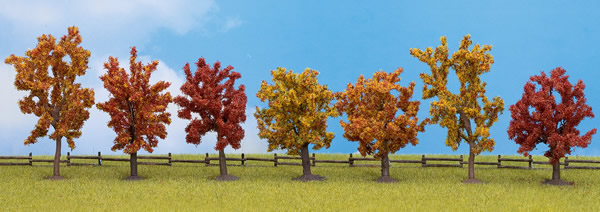 Noch 25070 - Autumn trees, 7 pcs., approx. 8 - 10 cm high