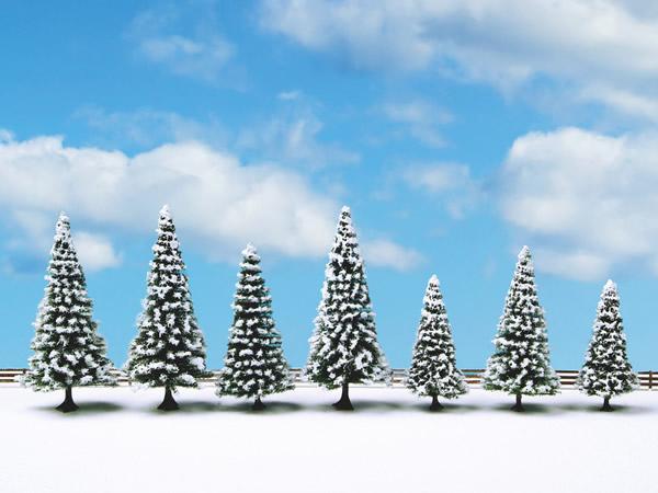 Noch 25087 - Snow Fir Trees, 7 pieces, 8 - 12 cm high