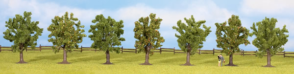 Noch 25090 - Fruit Trees, green, 7 pcs., approx. 8 cm high