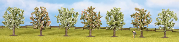 Noch 25092 - Fruit Trees, in blossom, 7 pcs., approx. 8 cm high