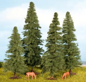 Noch 25232 - Fir Trees, 4 pcs, 8 - 12 cm high