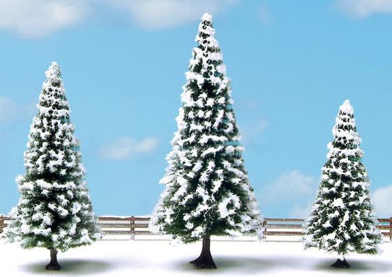 Noch 25234 - Snow Fir Trees, 3 pieces, 8 - 12 cm high