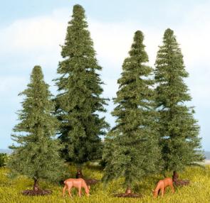 Noch 25432 - Fir Trees, 4 pcs., 4 - 8 cm high