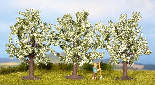Noch 25511 - Fruit Trees, white, 3 pcs., 4.5 cm high